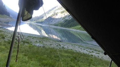Sicht aus dem Zelt